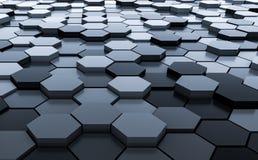 Rendição abstrata preta do teste padrão 3D do fundo dos hexágonos - ilustração 3D Foto de Stock