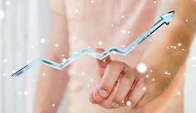 Rendição azul digital tocante da seta 3D do homem de negócios Imagem de Stock Royalty Free