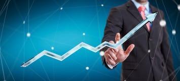 Rendição azul digital tocante da seta 3D do homem de negócios Fotografia de Stock Royalty Free