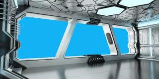 Rendição azul e branca da nave espacial do interior 3D Fotos de Stock Royalty Free