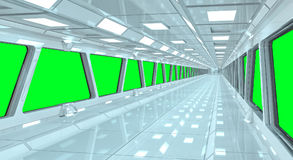 Rendição branca do corredor 3D da nave espacial Imagem de Stock Royalty Free