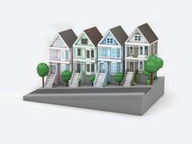 Rendição branca do fundo 3d do estilo dos desenhos animados de San Francisco da casa ilustração do vetor