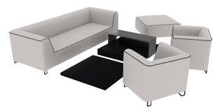 Rendição branca do sofá 3D Fotografia de Stock