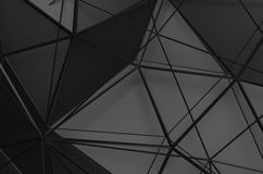 Rendição 3D abstrata da baixa superfície poli do preto Foto de Stock Royalty Free