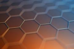 Rendição 3D abstrata da superfície com hexágonos Imagens de Stock Royalty Free