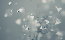 Rendição 3D abstrata de voar formas poligonais Fotos de Stock Royalty Free