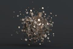 Rendição 3D abstrata dos cubos Foto de Stock Royalty Free