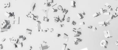 rendição 3d Alfabeto desintegrado no ar Foto de Stock Royalty Free