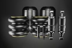 rendição 3d Amortecedor da cabine dos caminhões e mola de ar, peças de automóvel novas, peças sobresselentes Cabinedemper ilustração do vetor