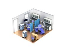 Rendição 3d azul do escritório isométrico do dentista no fundo branco n Fotografia de Stock