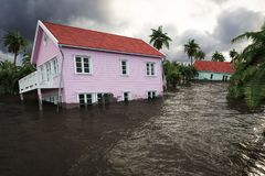 rendição 3d casas da inundação Fotos de Stock Royalty Free