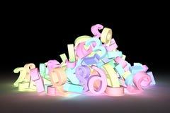 Rendição 3d colorida Tipografia abstrata do cgi, caráter 123 NU ilustração royalty free