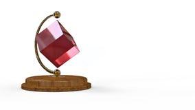 rendição 3d Cubo do presente da tabela Fotos de Stock Royalty Free