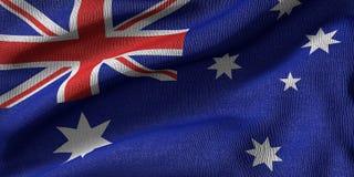 rendição 3D da bandeira de Austrália com textura da tela ilustração do vetor