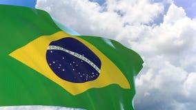 rendição 3D da bandeira de Brasil que acena no fundo do céu azul com canal alfa ilustração do vetor