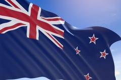 rendição 3D da bandeira de Nova Zelândia que acena no fundo do céu azul ilustração stock