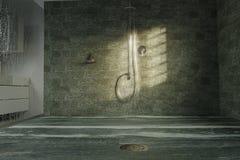 rendição 3d da bandeja do chuveiro no estilo da pedra do quartzito no mesmo Imagens de Stock