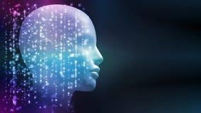 rendição 3D da cabeça do robô com fundo abstrato da tecnologia Conceito para a inteligência artificial, análise de dados grande ilustração royalty free