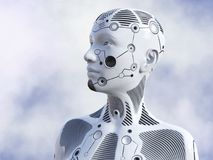 rendição 3D da cabeça fêmea do robô Fotografia de Stock Royalty Free