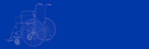 rendição 3d da cadeira de roda em um modelo azul do fundo Fotos de Stock