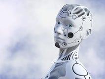 rendição 3D da cara fêmea do robô Fotos de Stock Royalty Free