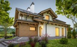 rendição 3d da casa acolhedor moderna no estilo do chalé Foto de Stock