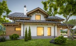 rendição 3d da casa acolhedor moderna no estilo do chalé Fotografia de Stock Royalty Free