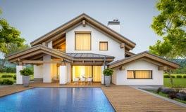 rendição 3d da casa acolhedor moderna no estilo do chalé Imagens de Stock