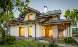 rendição 3d da casa acolhedor moderna no estilo do chalé Imagens de Stock Royalty Free