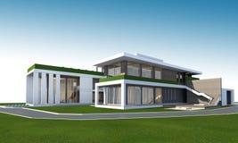 rendição 3D da casa com trajeto de grampeamento Imagem de Stock Royalty Free