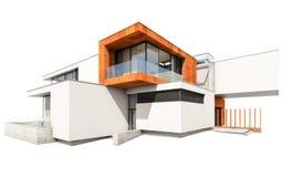 rendição 3d da casa moderna isolada no branco Imagens de Stock