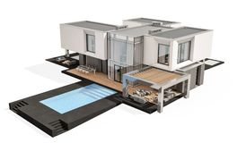 rendição 3d da casa moderna isolada no branco Foto de Stock Royalty Free