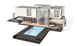 rendição 3d da casa moderna isolada no branco Imagem de Stock