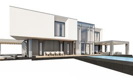 rendição 3d da casa moderna isolada no branco Fotos de Stock