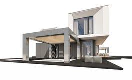 rendição 3d da casa moderna isolada no branco Fotografia de Stock Royalty Free