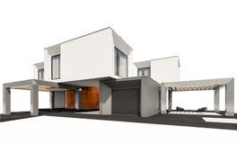 rendição 3d da casa moderna isolada no branco Fotos de Stock Royalty Free