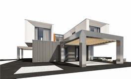 rendição 3d da casa moderna isolada no branco Imagem de Stock Royalty Free