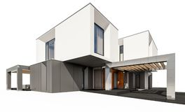 rendição 3d da casa moderna isolada no branco Fotografia de Stock