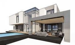 rendição 3d da casa moderna isolada no branco Imagens de Stock Royalty Free