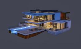 rendição 3d da casa moderna na noite isolada no cinza Foto de Stock Royalty Free