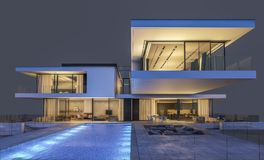 rendição 3d da casa moderna na noite isolada no cinza Foto de Stock