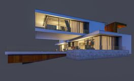 rendição 3d da casa moderna na noite isolada no cinza Imagens de Stock