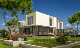 rendição 3d da casa moderna no jardim Imagens de Stock