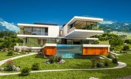rendição 3d da casa moderna pelo rio Imagens de Stock