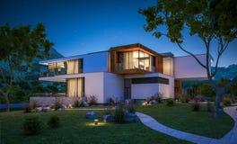 rendição 3d da casa moderna pelo rio Fotos de Stock Royalty Free