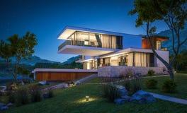 rendição 3d da casa moderna pelo rio Fotos de Stock