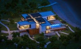 rendição 3d da casa moderna pelo rio na noite Fotografia de Stock