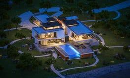 rendição 3d da casa moderna pelo rio na noite Imagem de Stock Royalty Free