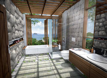 rendição 3D da casa tropical Foto de Stock