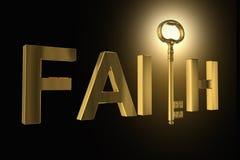 rendição 3D da chave dourada em letras da fé foto de stock
